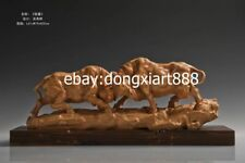 61 cm China Boxwood Masterwork Two duel Animal bullfight Ox bull Wood sculpture