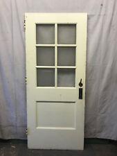 Wood Interior Door 6 Lite School Salvaged Architectural Vintage Privacy Glass