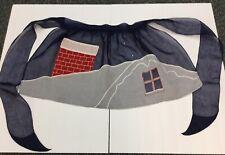 Vintage Christmas 1/2 Apron Rhinestone Chimney Window Rick Rack Red Navy White