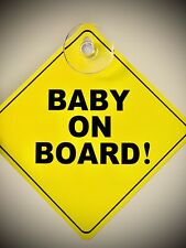 """Baby On Board Sign. New. Black And Yellow. 5""""x5"""". Safety Pop Colors."""