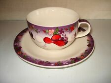 RED HAT SOCIETY CARDEW DESIGN TEA TIME 2004 PORCELAIN CUP AND SAUCER SET - MINT
