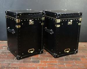 Black Patent Leather Occasional Side Table Trunks