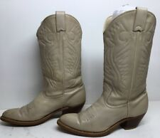 VTG WOMENS THOM MCAN COWBOY LEATHER DARK IVORY BOOTS SIZE 7.5 B