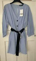 ZARA SKY BLUE POPLIN PLAYSUIT DRESS WITH CONTRASTING BLACK BELT SIZE M BNWT