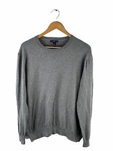 Gap Long Sleeve Pullover Sweater Mens Size L Grey Lightweight Crew Neck Jumper