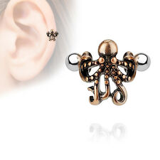 16G OCTOPUS cartilage Earring Stainless Steel Tragus Barbell helix cuff brass