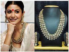 Indian Bollywood Wedding Jewelry Long Kundan Bridal Gold Plt Necklace Set 3 Rows