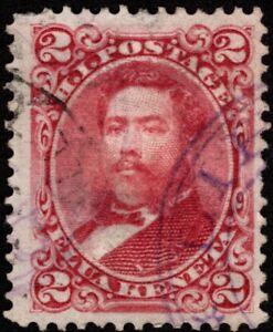 Hawaii - 1886 - 2 Cents Dull Red King David Kalakaua # 43a w/ Town Cancel F-VF