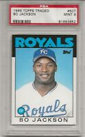 1986 TOPPS TRADED # 50T BO JACKSON, ROOKIE, PSA 9 MINT, K.C. ROYALS, CENTERED !
