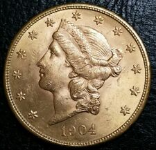 1904 S $20 Gold Double Eagle OLD Mint State Very Beautiful BU Miners Gold Coin