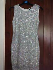 New⭐️ TFNC ⭐️ Silver Metallic Sequin Dress Size 12 M Sparkling Paris Dress Wow