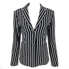 Smart MAX MARA WEEKEND Navy Blue White Stripe Velvety Jersey Henley Blazer L