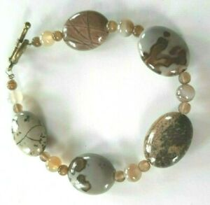 "NEW Large Agate Gemstones Toggle Bracelet 8.5""  Beautiful Unique Natural Designs"