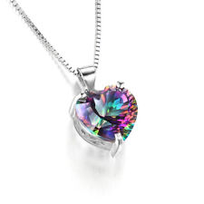 Mystic 925 Silver Necklace Jewelry Rainbow Chain Heart-shaped Pendant Topaz JT