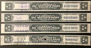 CANADA -  1935 TOBACCO EXCISE TAX - SERIES 'C' - 4 STRIP STAMPS -USED