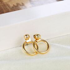 Fashion Women Jewelry Cute Gold Silver Geometric Round Metal Stud Earrings Gift