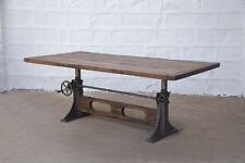 """84"""" L Crank dining table industrial design old wood top iron base spectacular"""