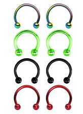 8pcs of 16 G Electro Horseshoe Circular Barbell Body Jewelry Piercing