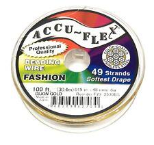 100' beading wire Accuflex gold steel 49 strand .019 inch width