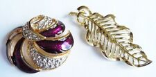 Leaf and Purple Swirl - Excellent Cond. Lot of 2 Stylish Brooches - Gold effect