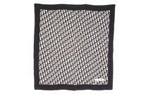 Christian Dior Large Format Scarf 100% Silk Trotter Stole Shawl Black 2773k