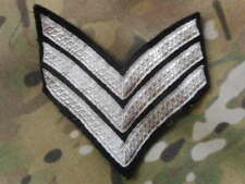 BRITISH ARMY sgt nco LARGE RANK PATCH guards dress uniform band ? BLACK SILVER