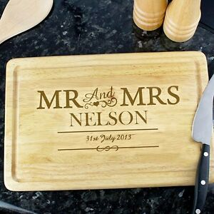 Personalised Wooden Chopping Board Wedding Gift Anniversary Present Mr & Mrs