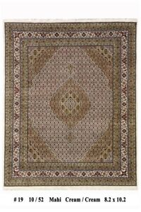 8 x 10 (98 x 122 in) Handmade Ivory Mahi White Silk Highlights Oriental Rug