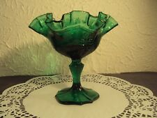 Vintage Fenton Empress Colonial compote emerald green footed ruffled edge bowl