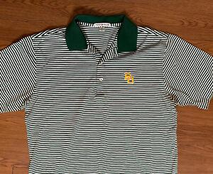 Peter Millar Baylor University Mens Golf Polo Medium Short Sleeve Green Stripe