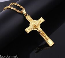 Fashion 18K Gold Plated Long Chain Necklace Large INRI Cross Crucifix Pendant