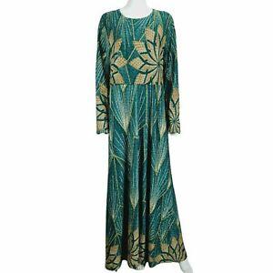 Shein Green Gold Metallised Fabric Pattern Dress Sz XXL Long Sleeve Stretch