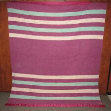 """Vtg Baron Woolen Mills Rising Sun Striped Wool Blanket 81"""" x 68""""   ESTATE FIND"""