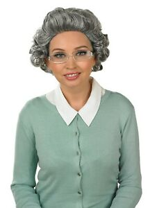 Womens Grey Curly Granny Wig + Glasses  For Old Lady Grandma Fancy Dress Costume