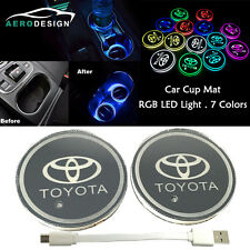 2Pcs Car SUV Switchable 7 RGB Colors LED Car Cup Holder Pad Mat Atmosphere Light