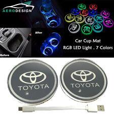 2Pcs Car SUV Switchable 7 RGB Colors LED Car Cup Holder Pad Mat Atmosphere Light