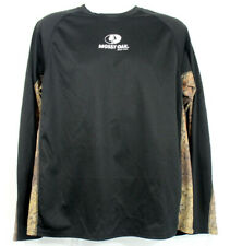 Mossy Oak Shirt Size Large Long Sleeve Pullover Raglan Black Camouflage Outdoors
