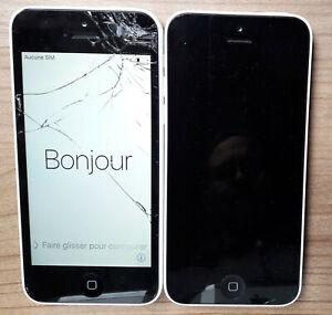 2x iPhone 5c - 8 Go - Pour pièces - Vitre écran Cassé