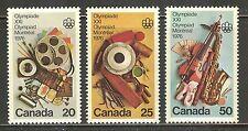 Canada #684-686, 1976 20c/25c/50c Olympic Arts & Culture, Complete Set Unused NH