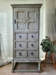VINTAGE JACOBEAN STYLE PAINTED CARVED OAK CUPBOARD CHEST OF DRAWERS ON STAND
