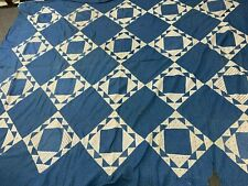 "Victorian Quilt Top- 77""x93""- Sunshine Pattern - Blue & White Calico- Charming"