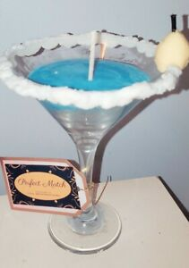 Blue Martini Glass Soy Wax Candles| Scented, homedecor, Any Color, Custom/Sale