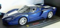 Hot Wheels 1/18 Scale - J8247 Ferrari FXX Metallic Blue White stripe Elite Vesio