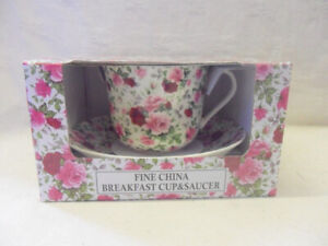 Gift boxed jumbo cup and saucer in Pink summertime chintz design
