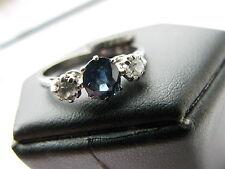 18ct White Gold 0.59ct Sapphire Diamonds 0.22ct Ring Size L 1/2 Us 6,25 Stunning