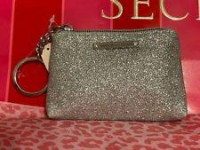 NWT Victoria's Secret Small Silver Glitter Wallet Id Card Keychain Coin Purse