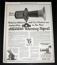 1916 OLD MAGAZINE PRINT AD, STEWART-WARNER, AUTOMOBILE WARNING SIGNAL, CAR HORN!