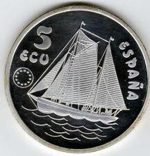 1993 Spain Large 42mm 1 OZ silver Proof 5 Ecu Sailing Ship/Don Juan De Borbon
