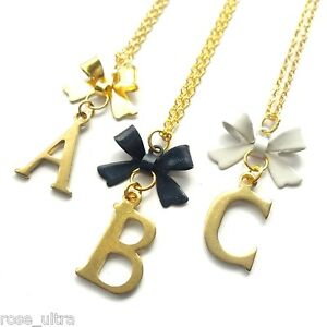"""Gold Initial Bow Gift Necklace, Personalised Vintage Letter Pendant, 18"""" chain"""