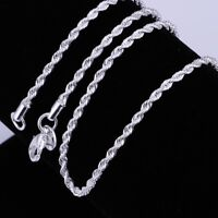 925 Sterling Silver Plated anti-tarnish Rhodium Rope Necklace 2mm 16 through 30""
